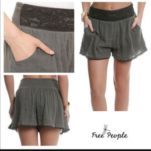 Free People Green Cotton Shorts.